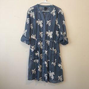 Cute Jean Floral Print Lightweight Dress